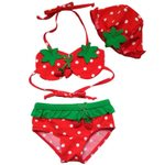 Lovely strawberry two Pieces Baby Girls Bathing Suit Children Swimsuit with Cap Baby Girls Swimwear Kids Swimming Bikinis Set